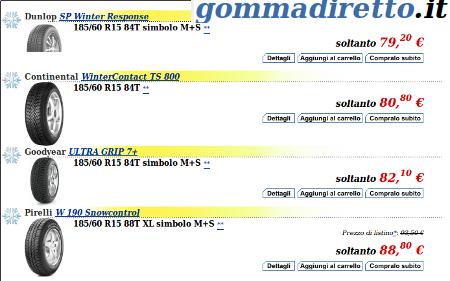 selezione pneumatici invernali Gommadiretto.it