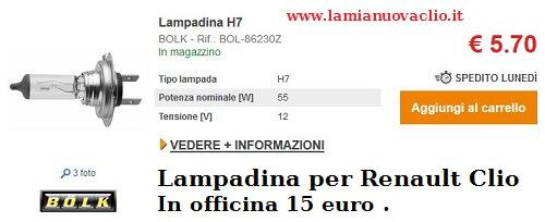 lampadina h7 per Renault Clio